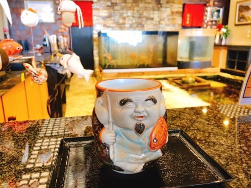 徳造丸縁起のエビス様仕様の湯呑み2 ぐり抹茶 伊豆名産玉緑茶のぐり茶と抹茶のコラボメニュー